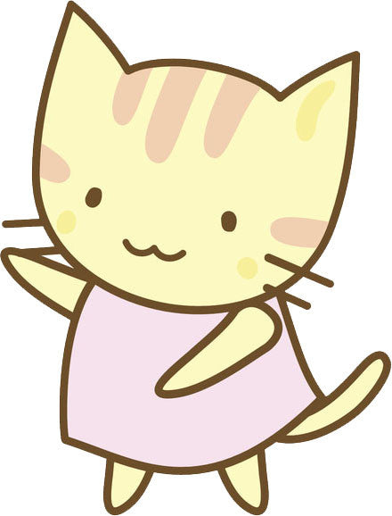Cute Kawaii Kitty Cat Icon - Yellow Pink Vinyl Decal Sticker