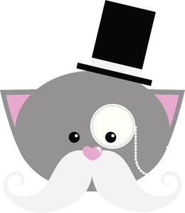 Cute Kawaii Vintage Kitty Cat Cartoon Emoji - Tophat Gentleman Vinyl Decal Sticker