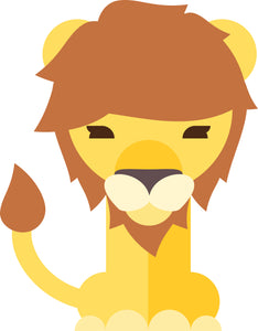 Cute Lion with Mane Cartoon Vinyl Decal Sticker