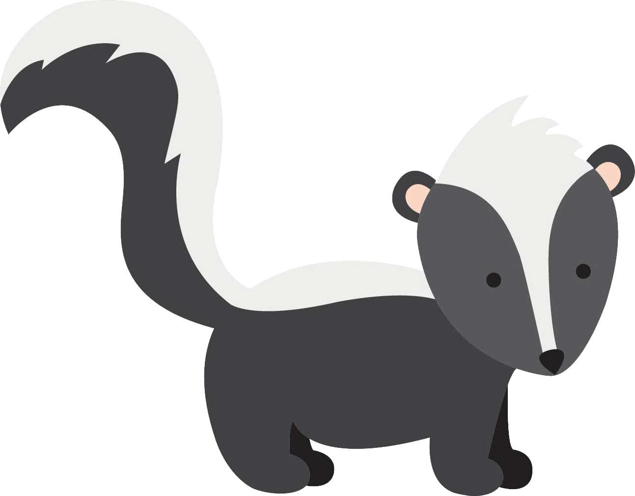 Cute Little Friendly Forest Animal Cartoon - Skunk Vinyl Decal Sticker
