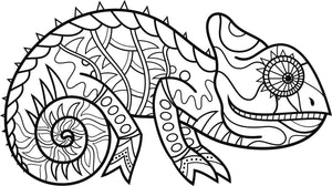 Cute Mandala Tribal Patterned Pascal Chameleon Vinyl Decal Sticker