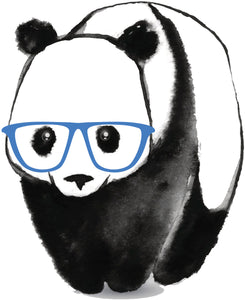 Cute Nerdy Geeky Panda Bear Watercolor with Glasses Vinyl Decal Sticker