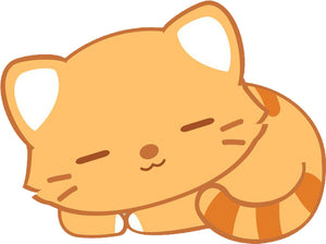 Cute Orange Stripe Kitty Cat Cartoon Emoji #4 Vinyl Decal Sticker