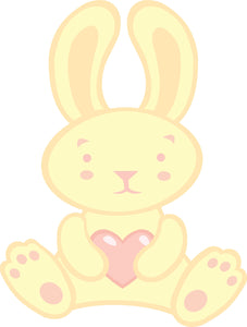 Cute Pale Yellow and Pink Valentine Bunny Rabbit with Heart Vinyl Decal Sticker