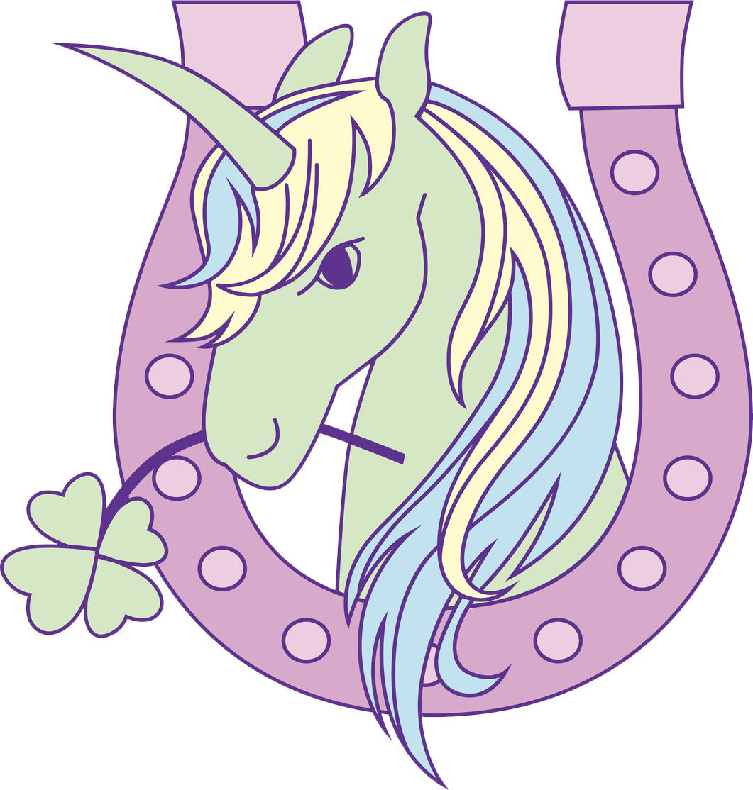 Cute Pastel Rainbow Unicorn Pony in Horseshoe Cartoon Icon Vinyl Decal Sticker