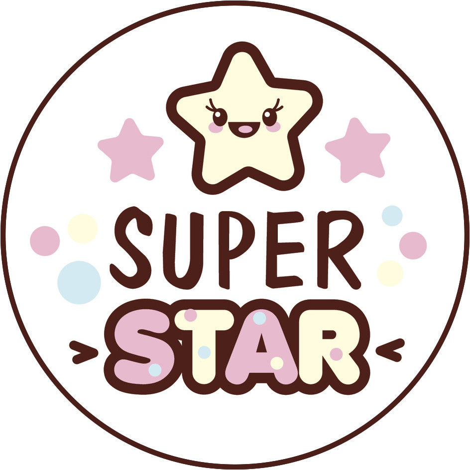 Cute Pink Girly Kawaii Candy Letters Icon - Super Star Vinyl Decal Sticker