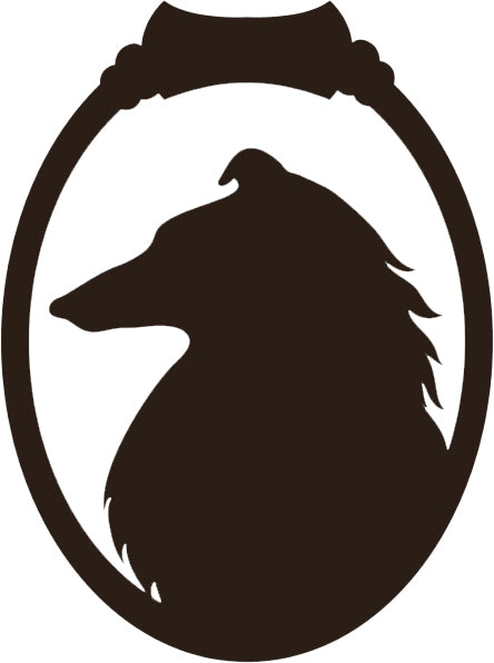 Cute Puppy Dog Silhouette in Vintage Oval Frame Cartoon - Afghan Hound Vinyl Decal Sticker