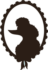 Cute Puppy Dog Silhouette in Vintage Oval Frame Cartoon - Poodle Vinyl Decal Sticker