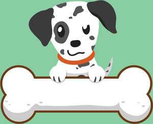 Cute Puppy Dog with Giant Bone Cartoon - Dalmatian #3 Vinyl Decal Sticker