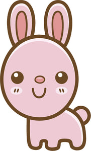 Cute Simple Kawaii Animal Cartoon Emoji - Bunny Rabbit Vinyl Decal Sticker