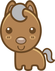 Cute Simple Kawaii Animal Cartoon Emoji - Horse Vinyl Decal Sticker