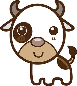 Cute Simple Kawaii Animal Cartoon Icon - Cow Vinyl Decal Sticker
