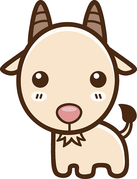 Cute Simple Kawaii Animal Cartoon Icon - Goat Vinyl Decal Sticker