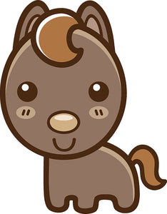 Cute Simple Kawaii Animal Cartoon Icon - Horse Vinyl Decal Sticker