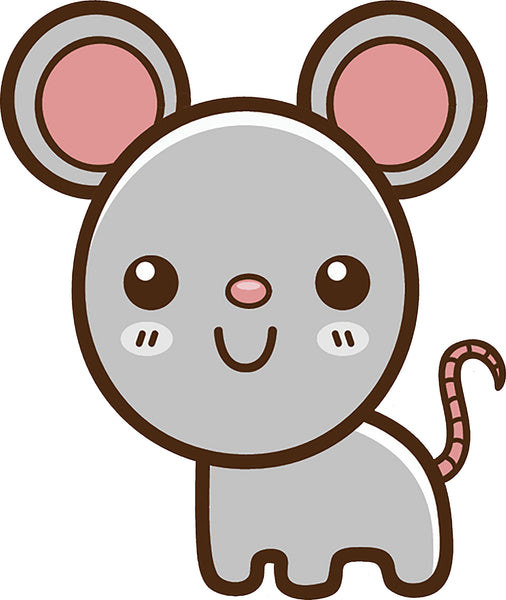 Cute Simple Kawaii Animal Cartoon Icon - Mouse Vinyl Decal Sticker