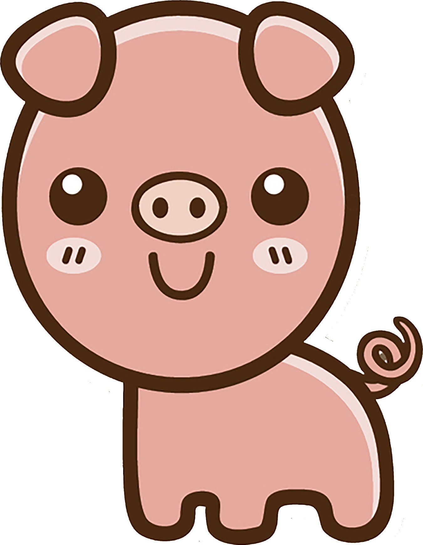 Cute Simple Kawaii Animal Cartoon Icon - Pig Vinyl Decal Sticker