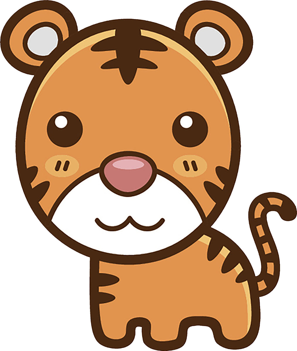 Cute Simple Kawaii Animal Cartoon Icon - Tiger Vinyl Decal ...
