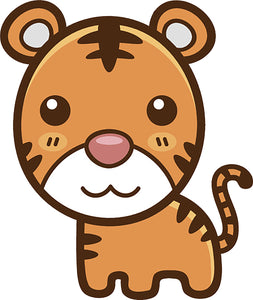 Cute Simple Kawaii Animal Cartoon Icon - Tiger Vinyl Decal Sticker