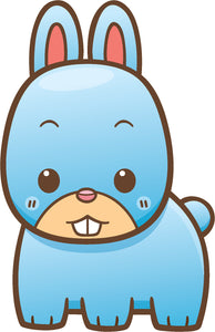 Cute Simple Kawaii Farm Animal Cartoon Icon - Blue Bunny Rabbit Vinyl Decal Sticker