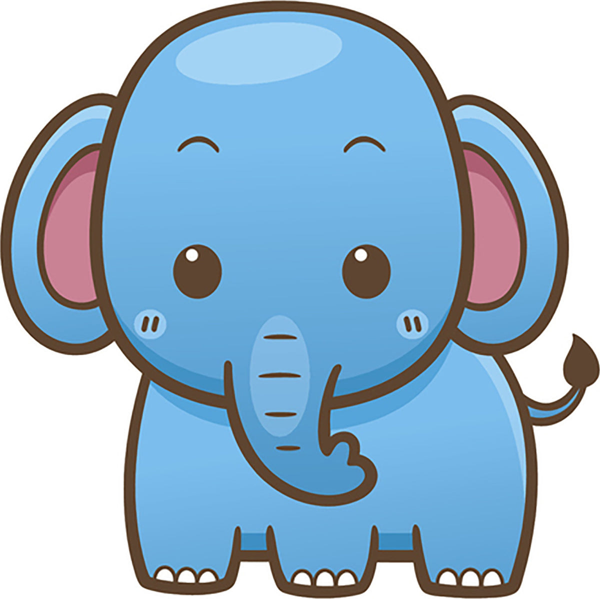 Cute Simple Kawaii Wild Animal Cartoon Icon - Elephant ...