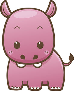 Cute Simple Kawaii Wild Animal Cartoon Icon - Hippo Vinyl Decal Sticker