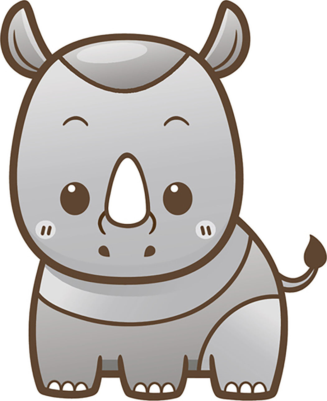 Cute Simple Kawaii Wild Animal Cartoon Icon - Rhino Vinyl Decal Sticker