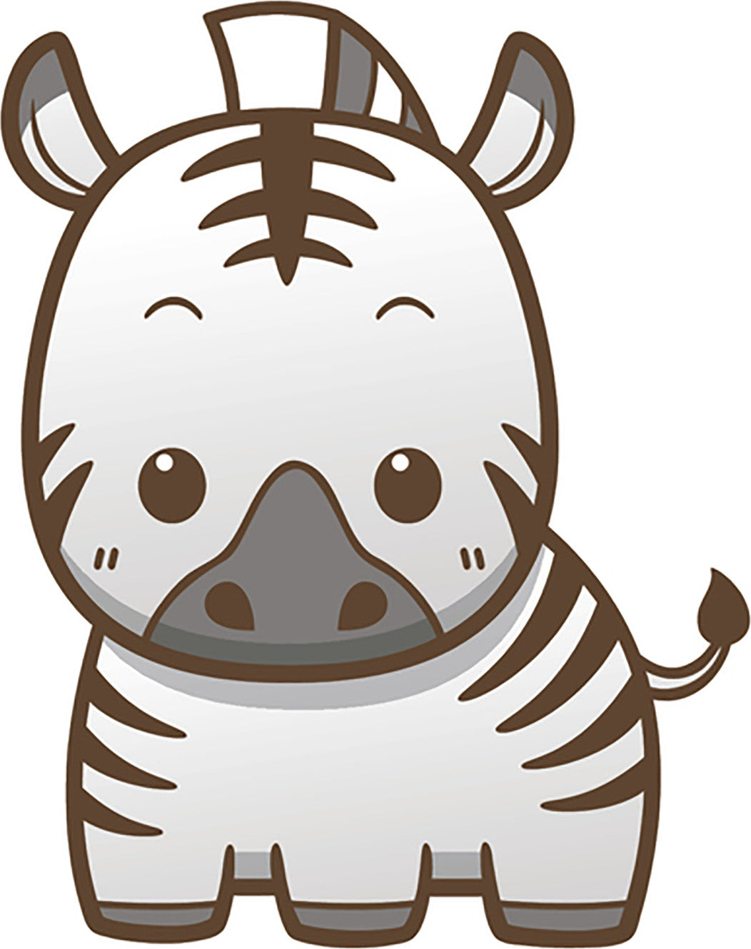 Cute Simple Kawaii Wild Animal Cartoon Icon - Zebra Vinyl Decal Sticker