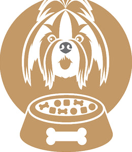Cute  Simple Puppy Dog and Food Bowl Silhouette - Shih Tzu Vinyl Decal Sticker