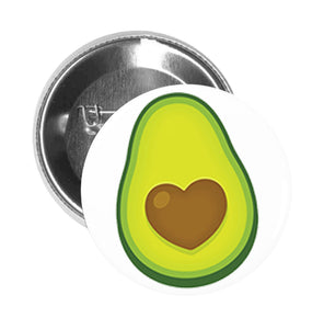 Round Pinback Button Pin Brooch Cute Sweet Avocado with Heart Seed Cartoon Emoji - Avocado with Heart Seed