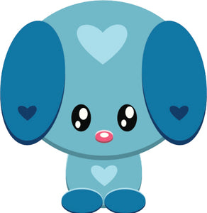 Cute Valentine Baby Animal Cartoon Emoji - Blue Puppy Dog Vinyl Decal Sticker