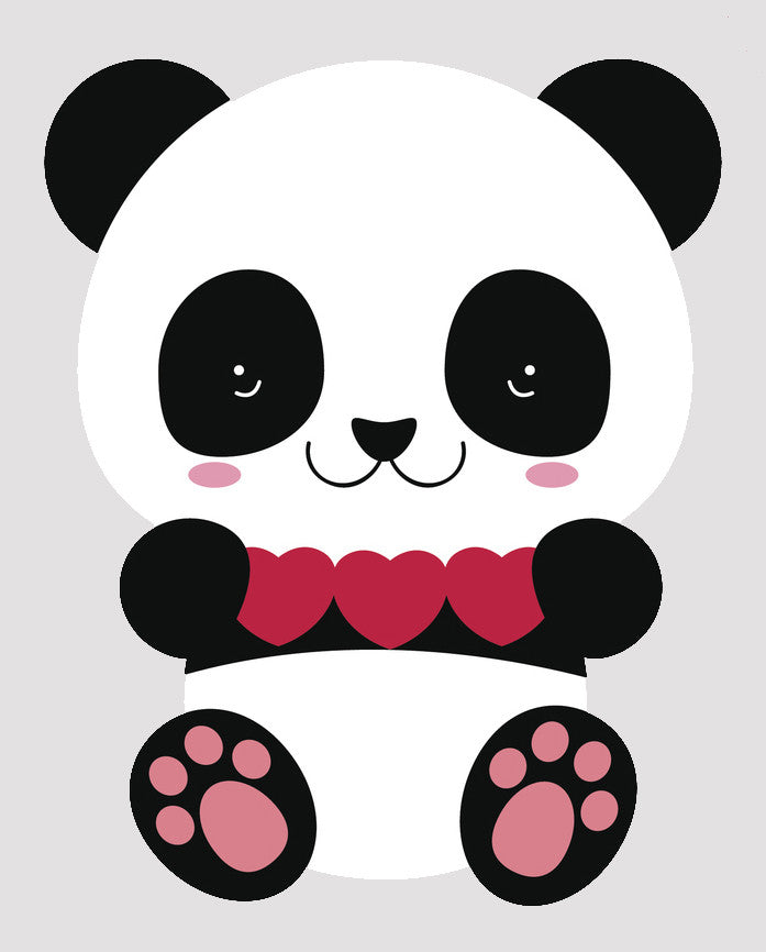 Cute Valentine Panda Bear Cub - Paper Hearts Vinyl Decal Sticker