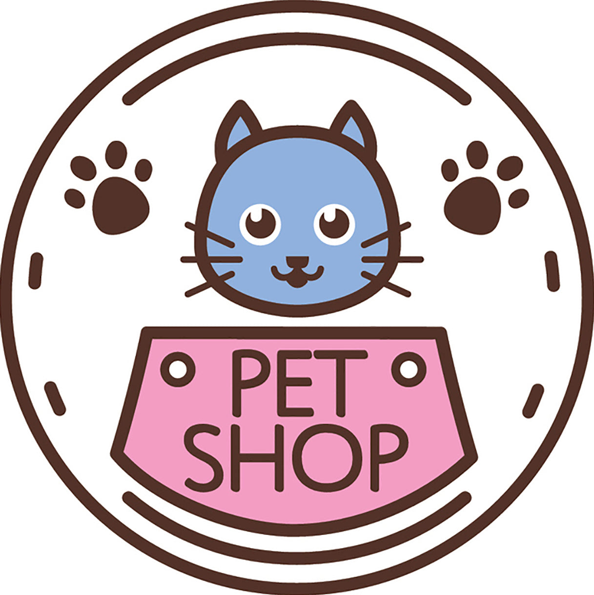 Cute Veterinary Clinic Pet Shop Cartoon Logo Icon #5 Vinyl Decal Sticker