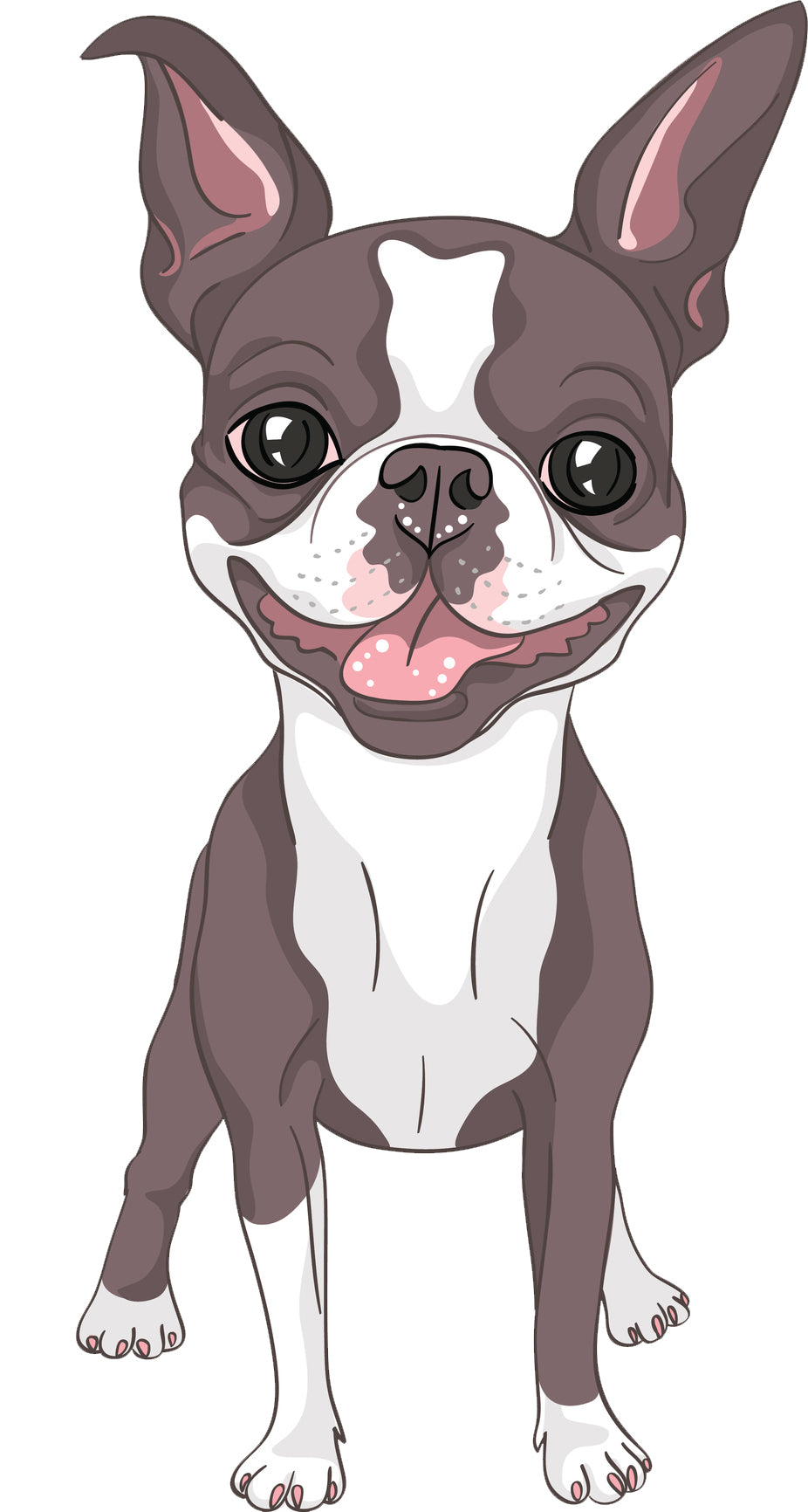 Cute Watercolor Boston Terrier Puppy Dog Cartoon Vinyl Decal Sticker