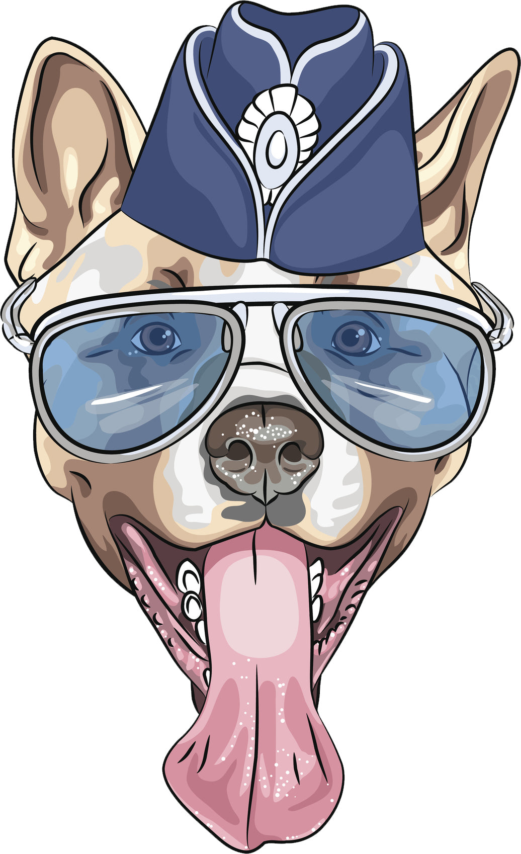 Cute Watercolor Yawning Military Pitbull Puppy Dog Vinyl Decal Sticker