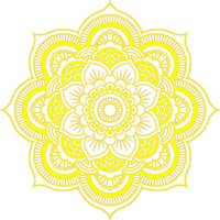 DETAILED MANDALA DESIGN BRIGHT CANARY YELLOW WHITE Vinyl Decal Sticker