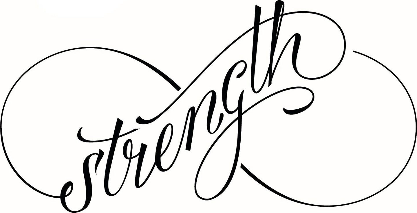 Dainty Infinity Symbol Calligraphy - Strength #1 Vinyl Decal Sticker