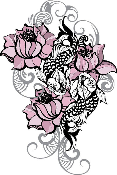 Dainty Pink Lotus Flower With Koi Fish And Gray Waves Vinyl Decal Sticker