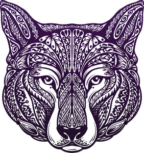 Dark Purple Tribal Print Wolf Dog Face Vinyl Decal Sticker