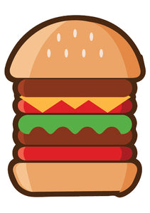 Delicious American Fast Fair Food - Tall Burger Vinyl Decal Sticker