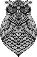 Detailed Black and White Stern Serious Tribal Pattern Owl (3) Vinyl Decal Sticker