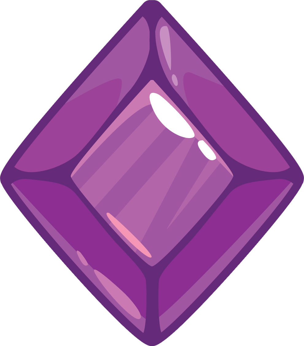 Diamond Beveled Gemstone Birthstone Jewel Cartoon - Amethyst Purple Vinyl Decal Sticker