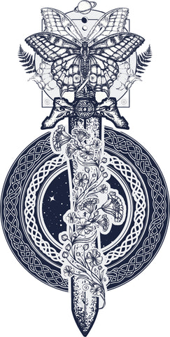 Dreamy Floral Vintage Sword in Celtic Knot Icon Vinyl Decal Sticker