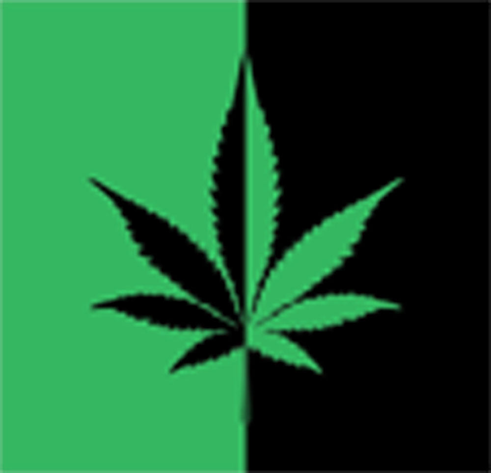 Dual Colored Weed Marijuana Leaf High Smoke Cartoon - Background Vinyl Decal Sticker