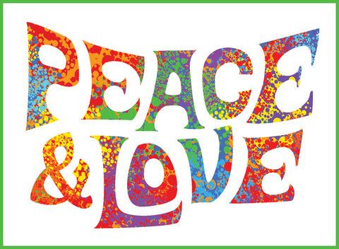 Finger Paint Rainbow Peace and Love Icon 3 Border Around Image As Shown Vinyl Sticker