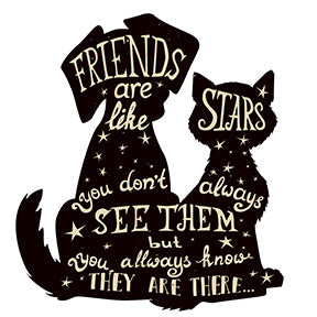 Friends are Like Stars Quote Calligraphy in Dog Cat Animal Silhouette Vinyl Decal Sticker