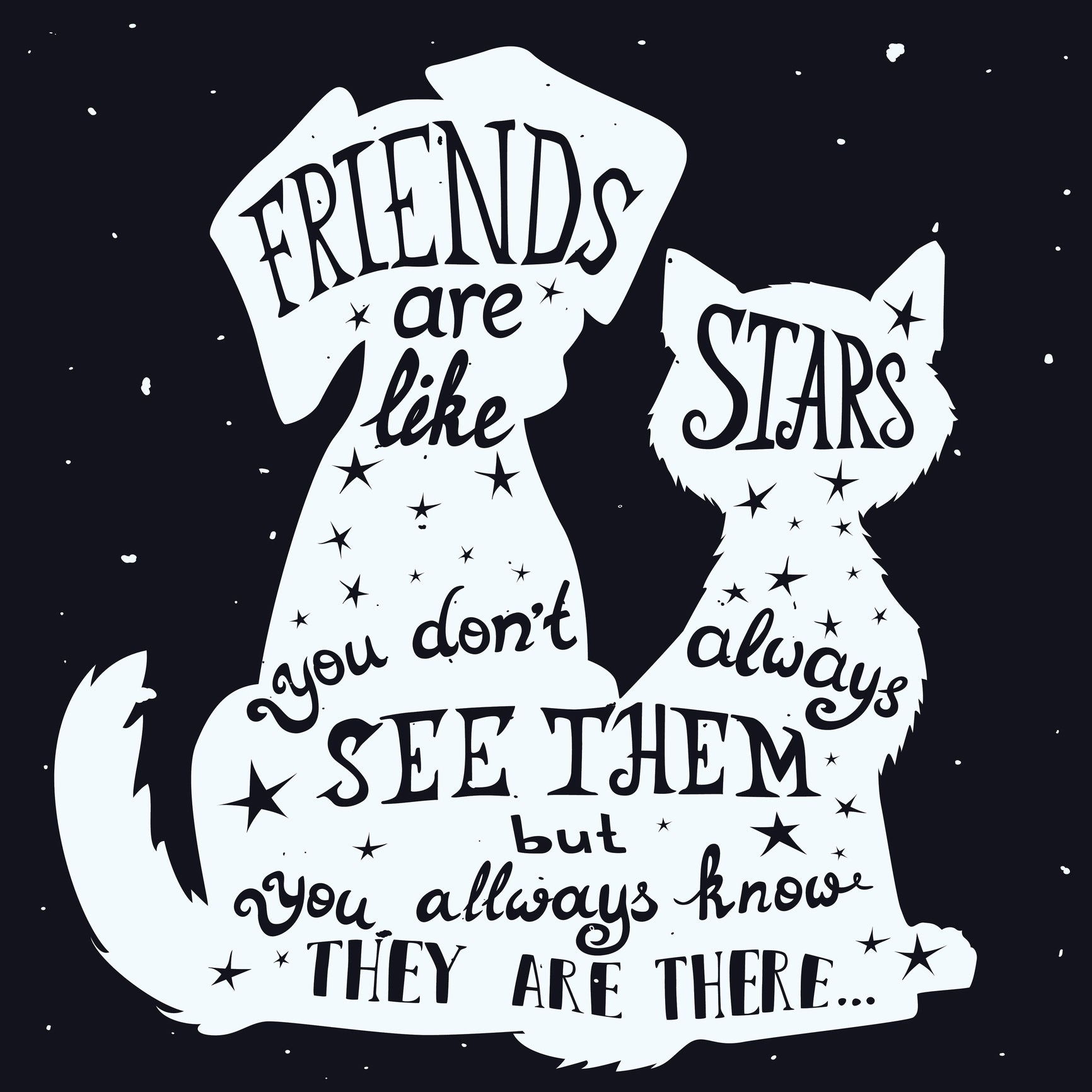 Friends are like Stars Quote in Kitty Cat and Puppy Dog Silhouette Vinyl Decal Sticker