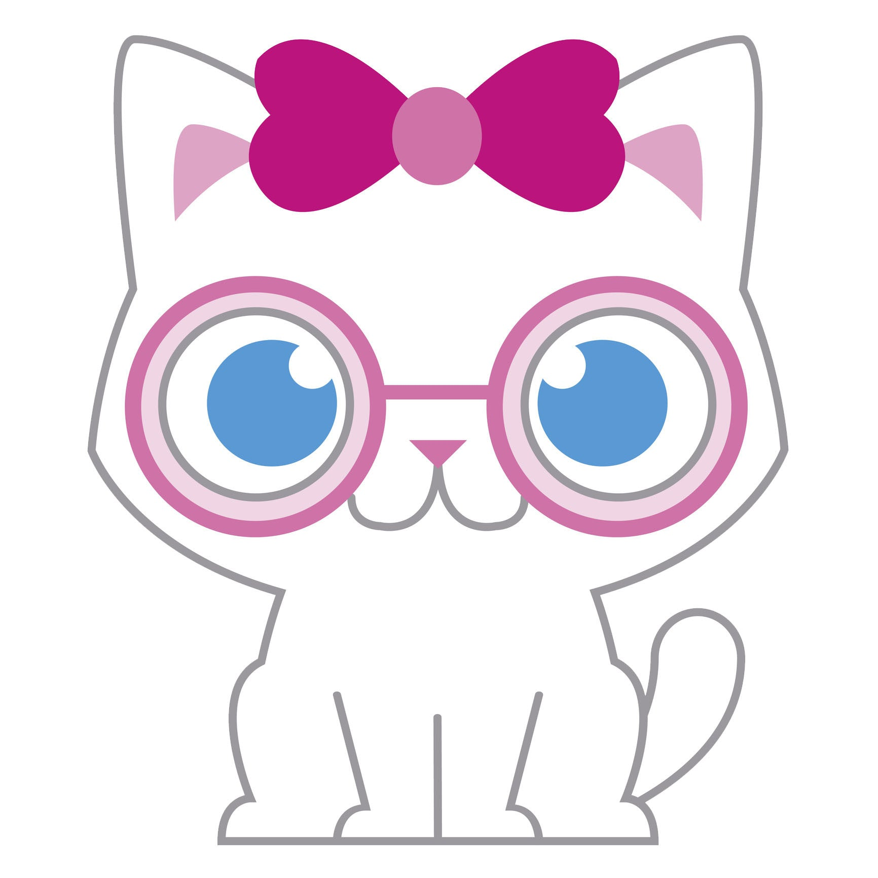 Girly Nerdy Baby Kitty Cat Vinyl Decal Sticker