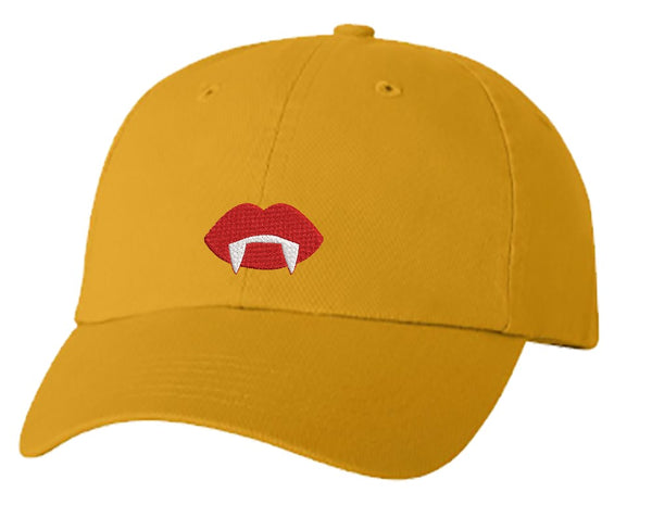 Unisex Adult Washed Dad Hat Simple Gothic Black Vampire Lips Cartoon Embroidery Sketch Design