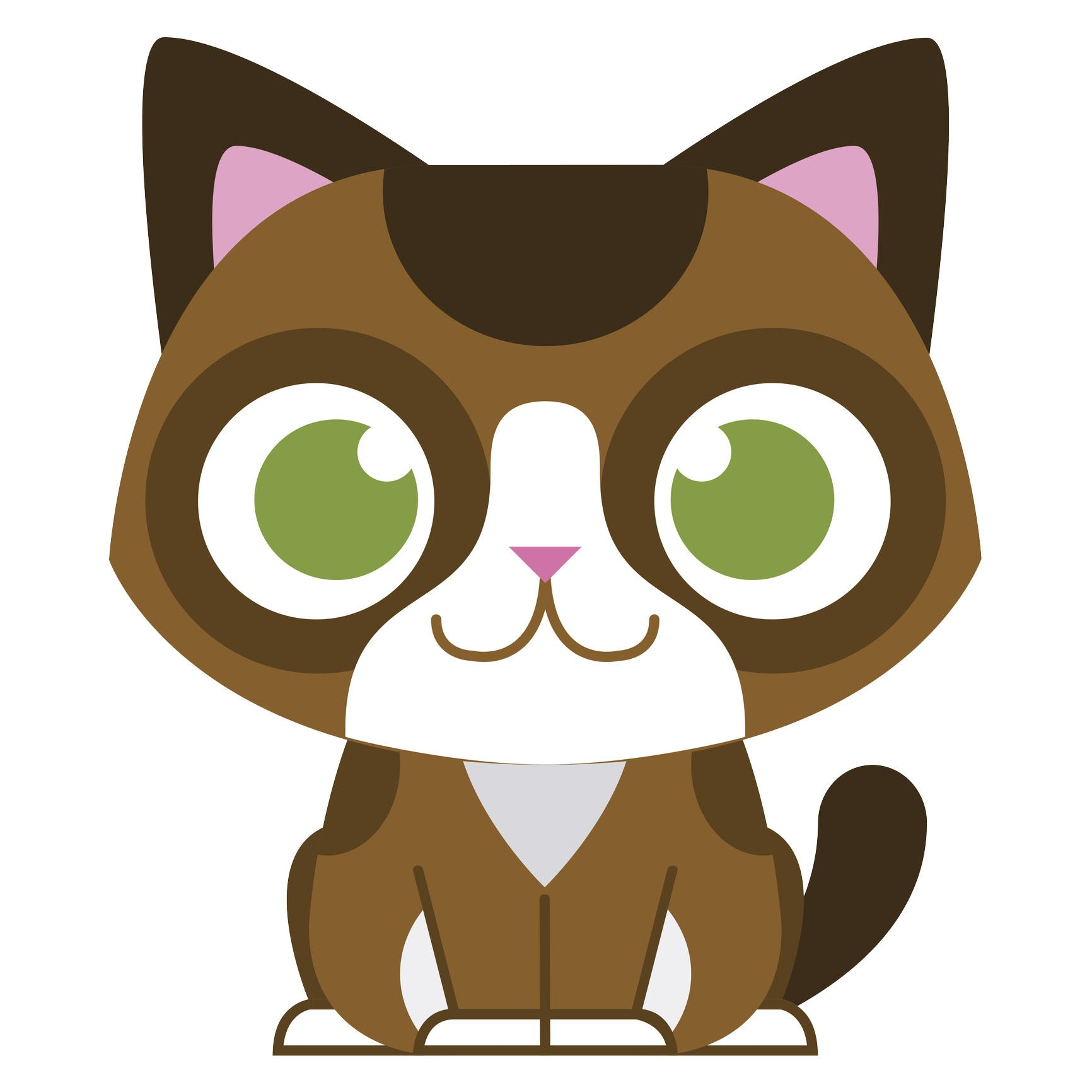 Green Eyed Brown Baby Kitty Cat Vinyl Decal Sticker