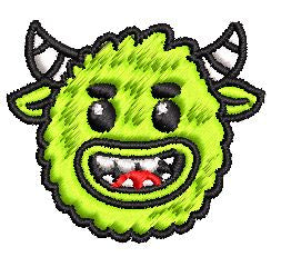 Iron on / Sew On Patch Applique Happy Cute Friendly Green Monster Cartoon Emoji Embroidered Design
